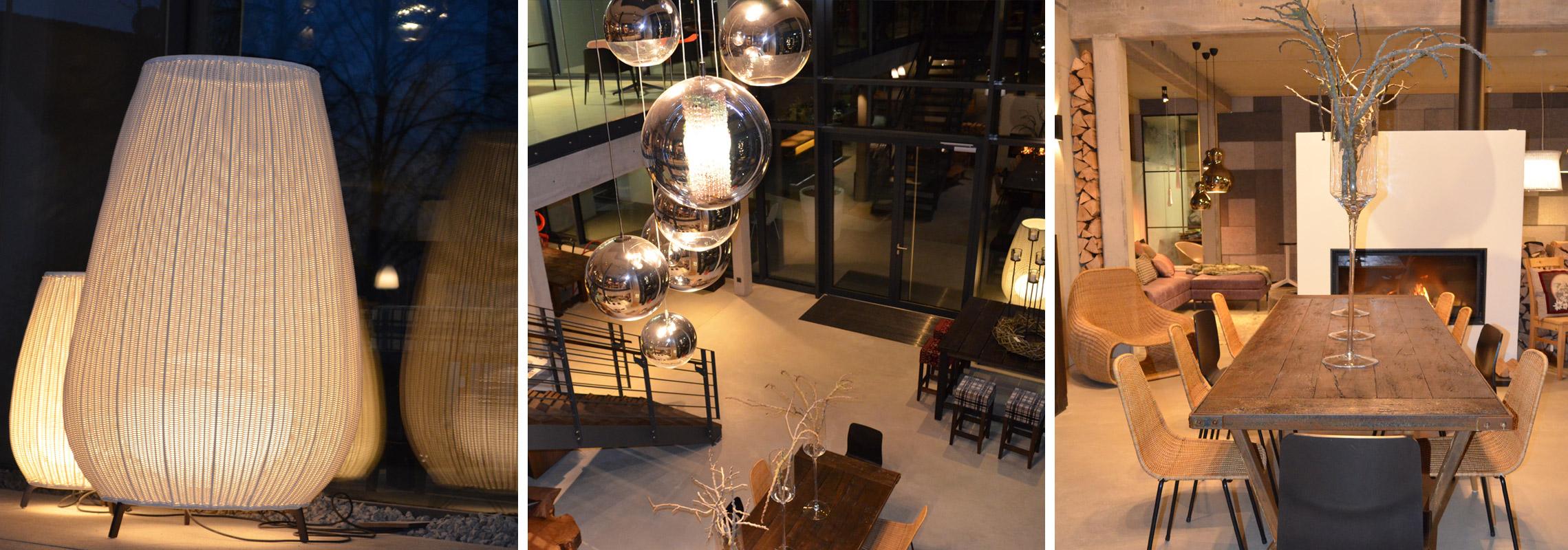 Kachelbild mit verschiedenen Lampen, Tischen und Stühlen als design Beispiel